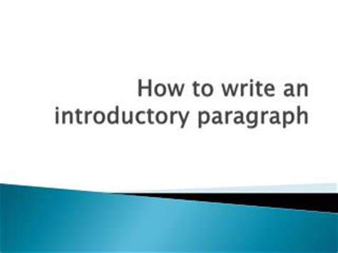 How to write a thesis and introduction paragraph